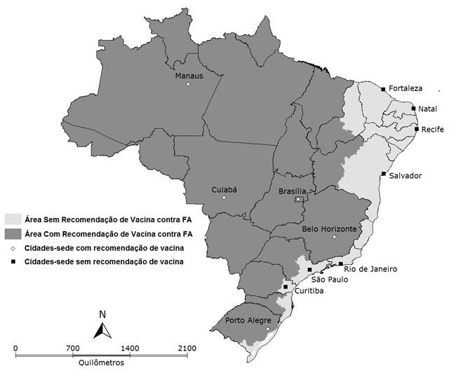 Mapa do Brasil sobre Febre Amarela